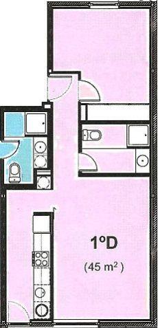 Vivienda de un dormitorio cocina independiente.