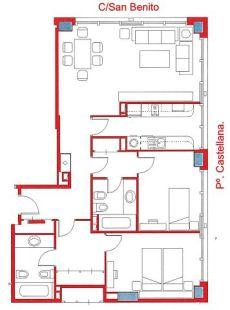 Piso amueblado de 2 dormitorios en plena plaza de castilla