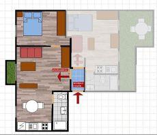 Apartamento en piso compartido con wc y cocina privados